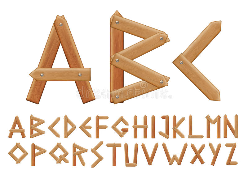 Letter made from wooden boards vector illustration