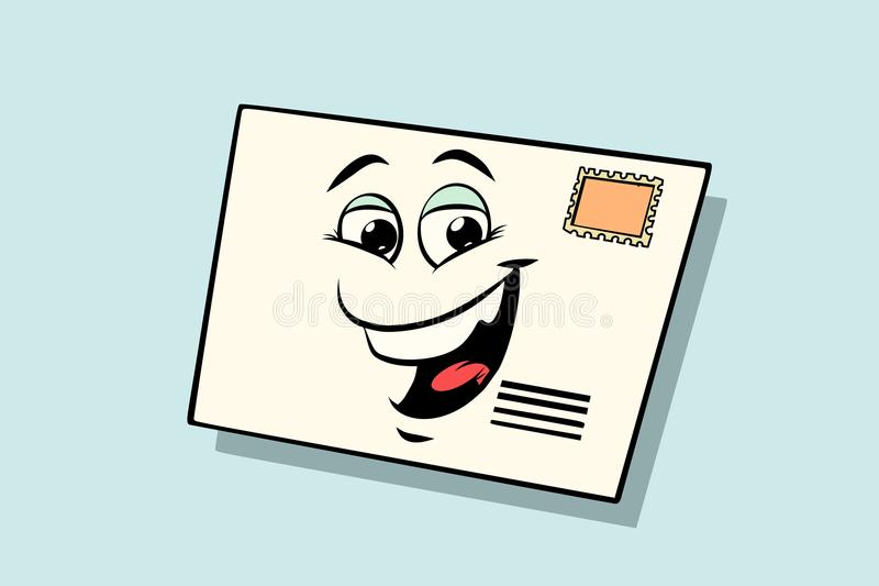 Letter mail envelope cute smiley face character vector illustration