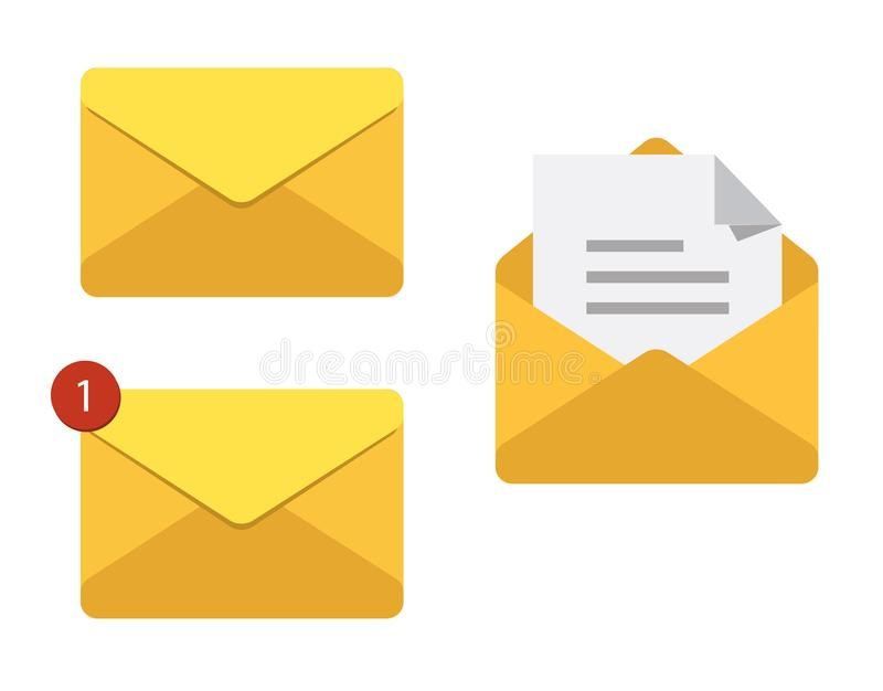 Letter in mail envelope. Set of vector illustrations. Mailbox notification or email message icons receiving emails. Correspondence royalty free illustration