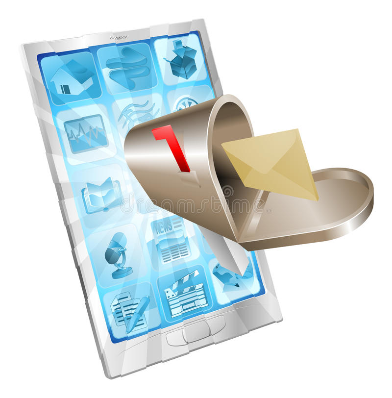 Letter mailbox flying out of phone screen concept stock illustration