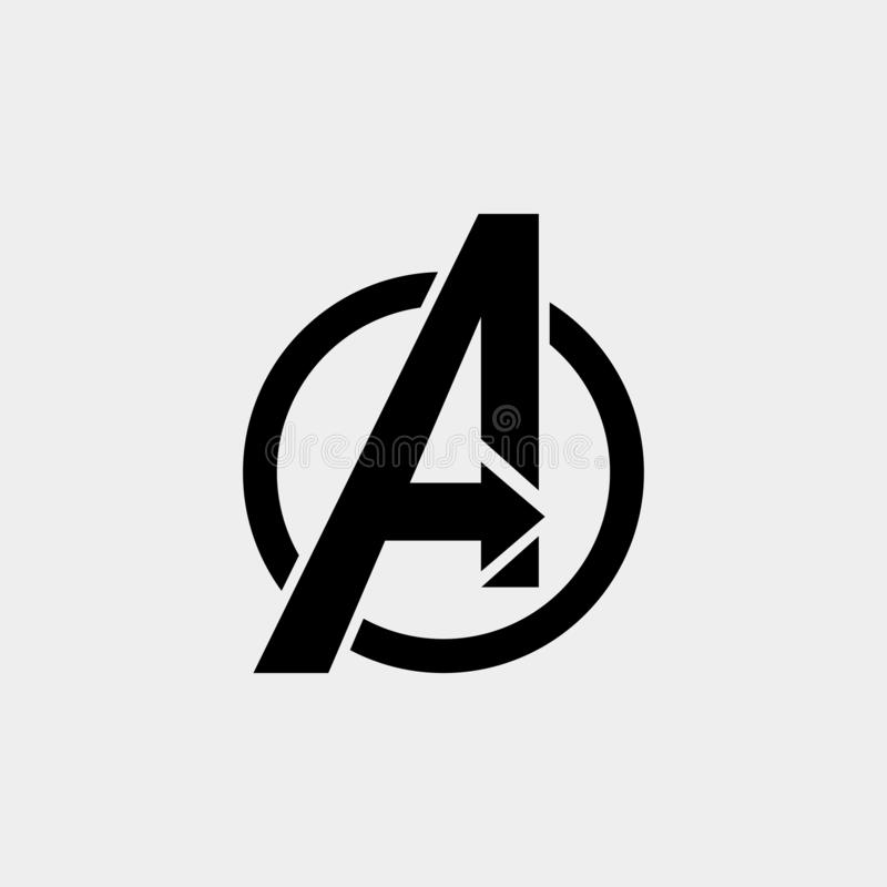 Avengers Logo isolated vector icon, symbol avengers end game royalty free illustration
