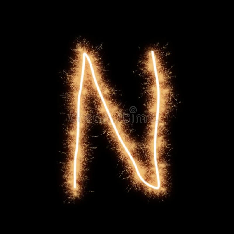 Letter N of alphabet on a black background. Letter N of alphabet written by squib sparks on a black background stock illustration