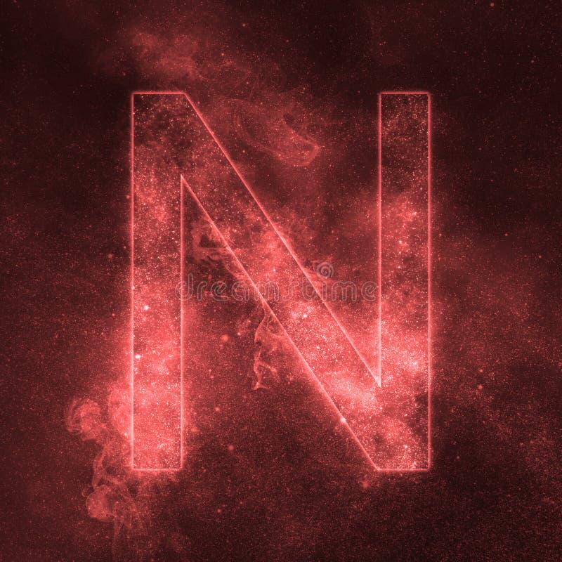 Letter N alphabet symbol. Space Letter, Night Sky Letter. Space letters stock illustration