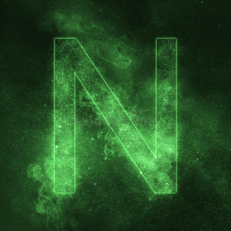 Letter N alphabet symbol. Space Letter, Night Sky Letter. Space letters vector illustration