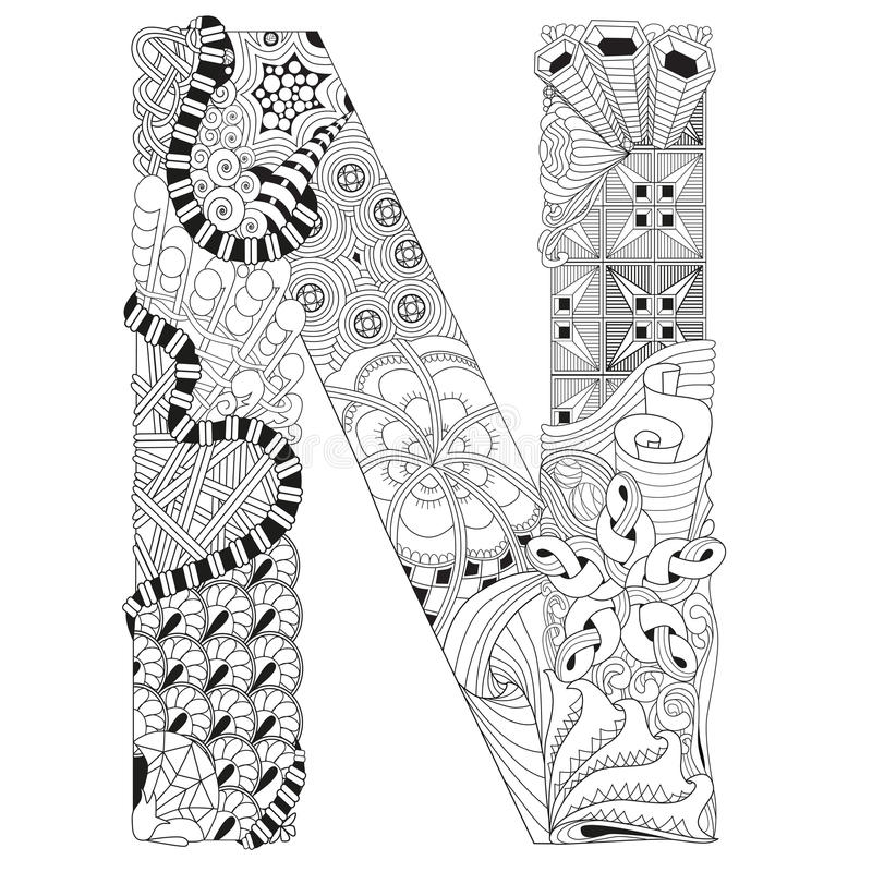zentangle coloring pages letter n | Letter N For Coloring. Vector Decorative Zentangle Object ...