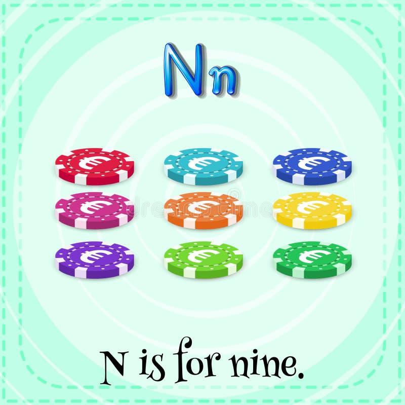Letter N. Flashcard letter N is for nine stock illustration