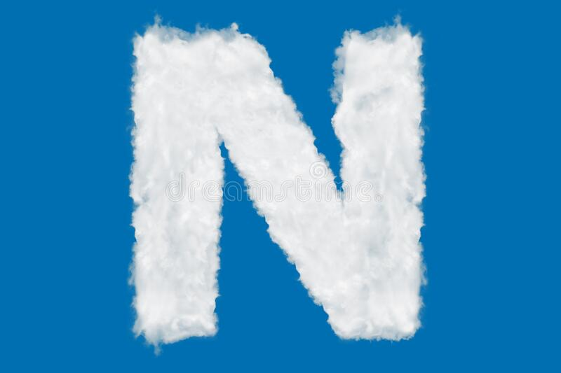 Letter N font shape element made of clouds on blue. Background over sky stock photography