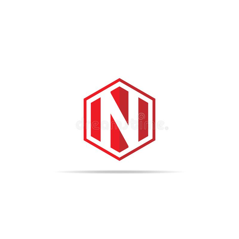 Letter N logo icon in polygon hexagonal shape concept design. business corporate logo template element. vector illustration royalty free illustration