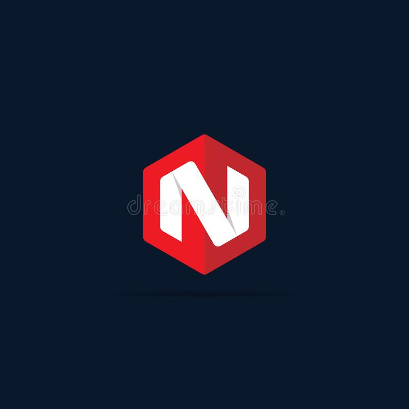 Letter N logo icon in polygon hexagonal shape concept design. business corporate logo template element. vector illustration stock illustration