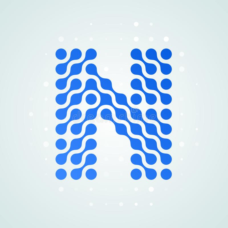 Letter N logo modern halftone icon. Vector flat letter N sign futuristic blue dot line liquid font trendy digital design royalty free illustration