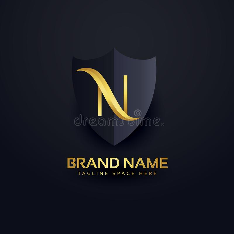 Letter n logo in premium style with shield royalty free illustration