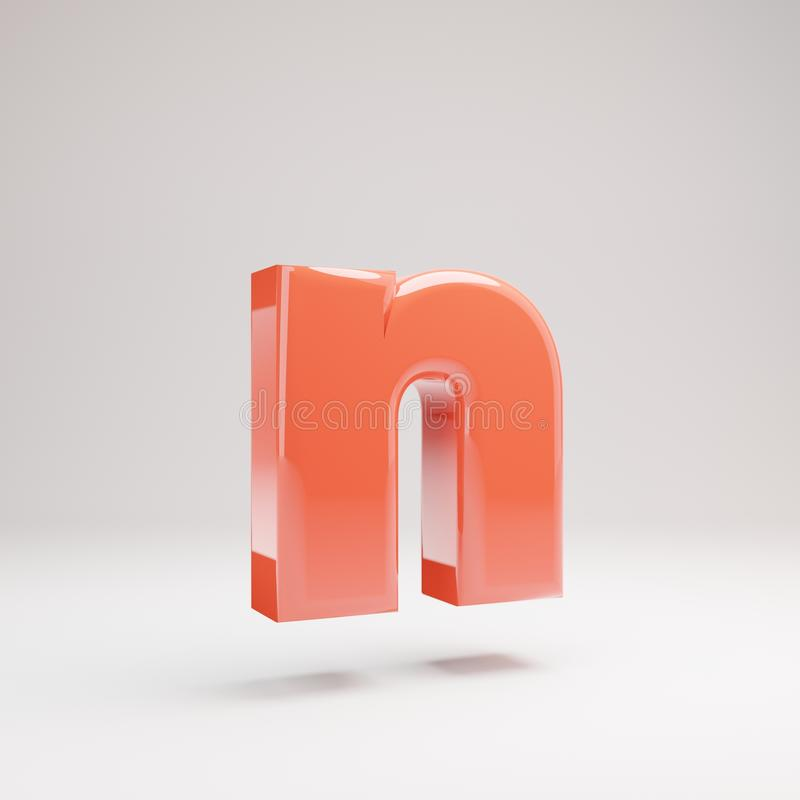 Letter N lowercase. Living Coral font with glossy reflections and shadow isolated on white background stock photo