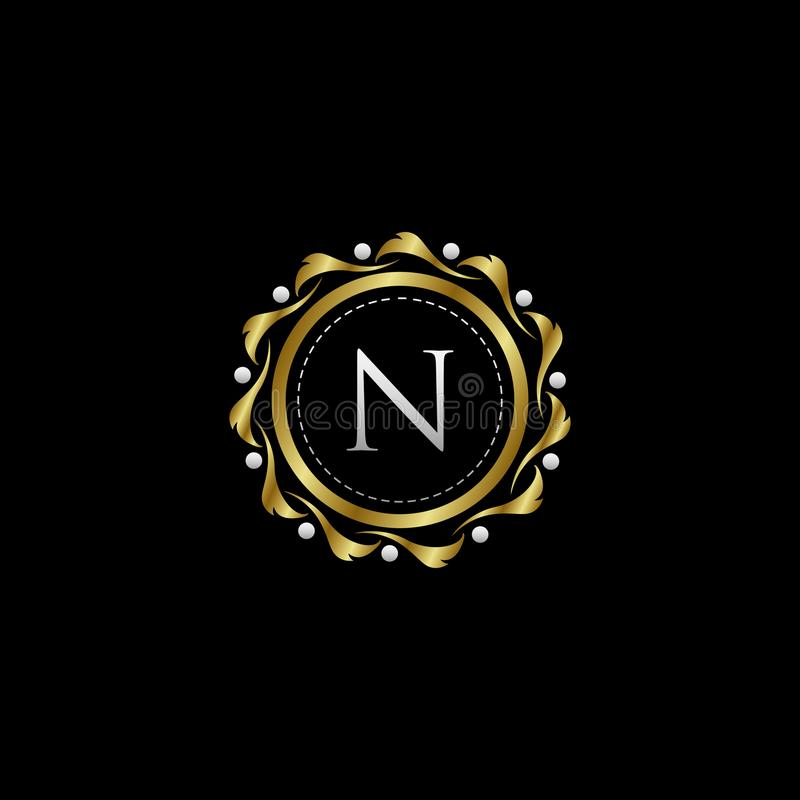Letter N Luxury Boutique Circle Badge Template Logo. Vector, suitable with classy and vintage theme vector illustration