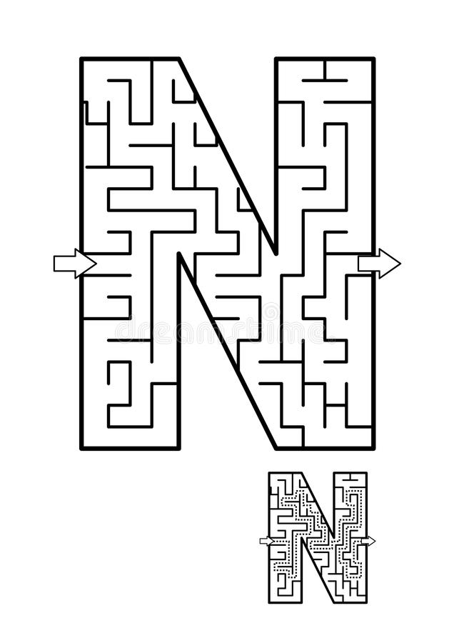 Free Letter N Maze Game For Kids Royalty Free Stock Images - 107355919