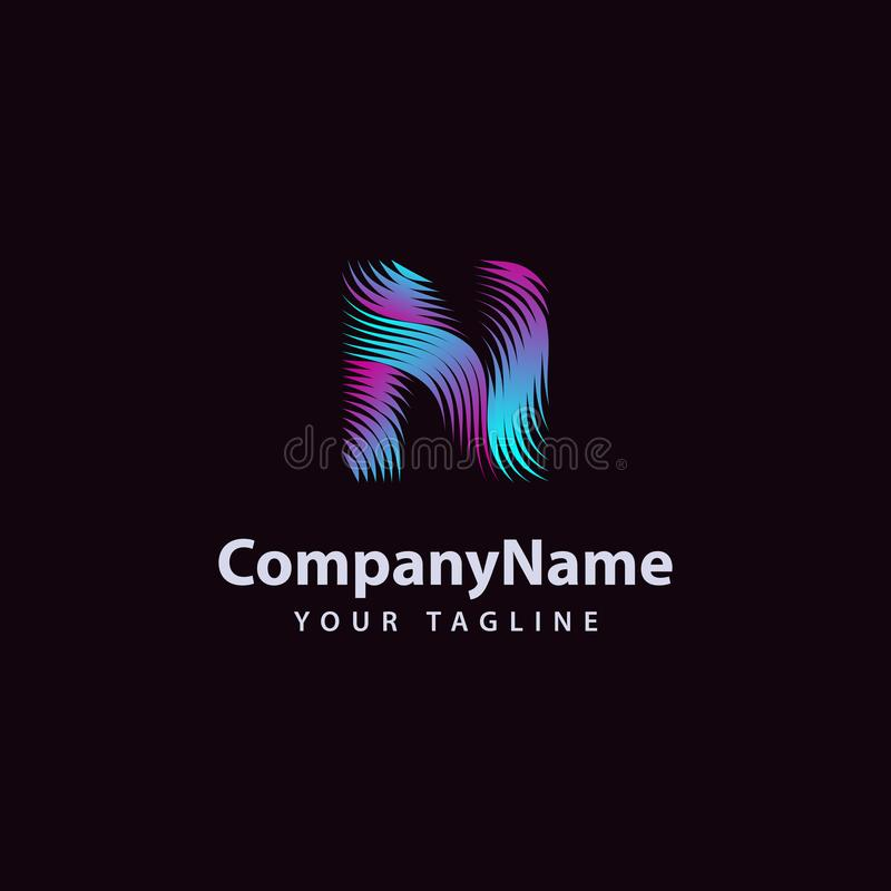 Letter N modern Wave line Logo design template royalty free illustration