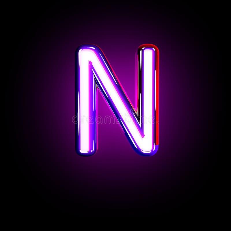 Purple glow neon font - letter N isolated on black background, 3D illustration of symbols. Letter N of neon purple glow alphabet isolated on black - 3D vector illustration