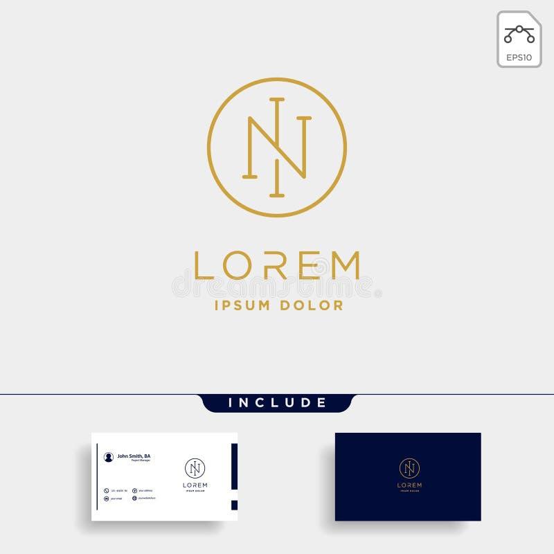 Letter N NI IN Monogram Logo Design Minimal Icon. With Black Color, simple, line, badge, vector, initial, emblem, graphic, symbol, vintage, element, outline stock illustration