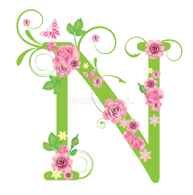 Letter N with roses stock vect...