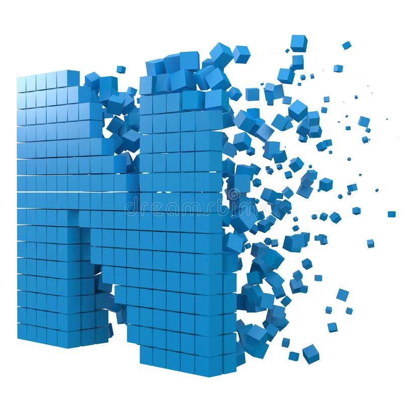 Letter N shaped data block. version with blue cubes. 3d pixel style vector illustration. Suitable for blockchain, technology, computer and abstract themes vector illustration