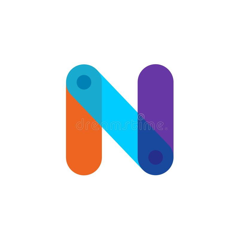 Letter N tech colorful logo with overlay effect. Transparency are flattened stock illustration
