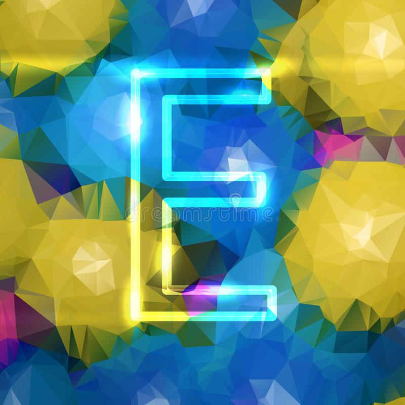 The letter neon e is large, on a stock illustration