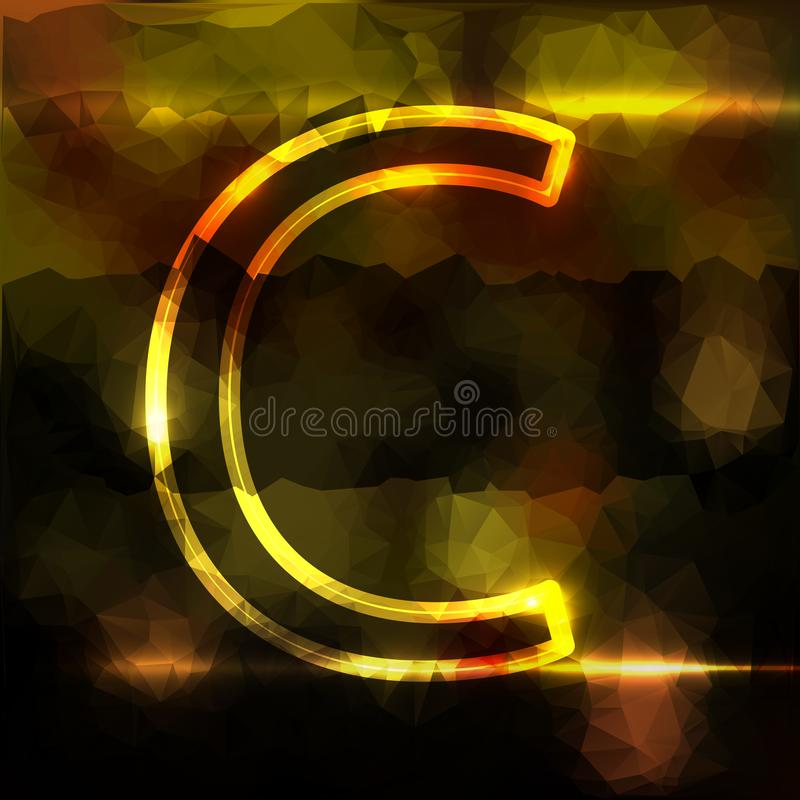 The letter is neon with a large capital. on stock illustration