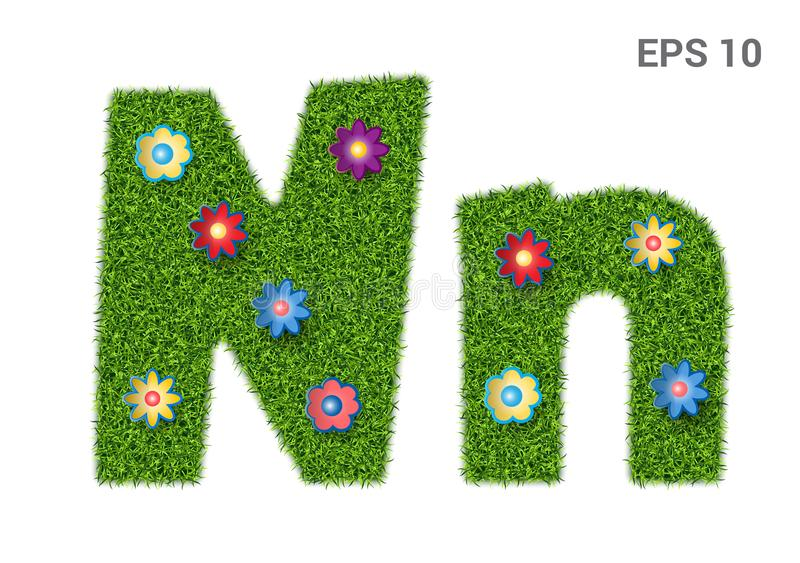 Letter Nn with a texture of grass and flowers. Nn - capital and capital letters of the alphabet with a texture of grass. Moorish lawn with flowers. Isolated on stock illustration