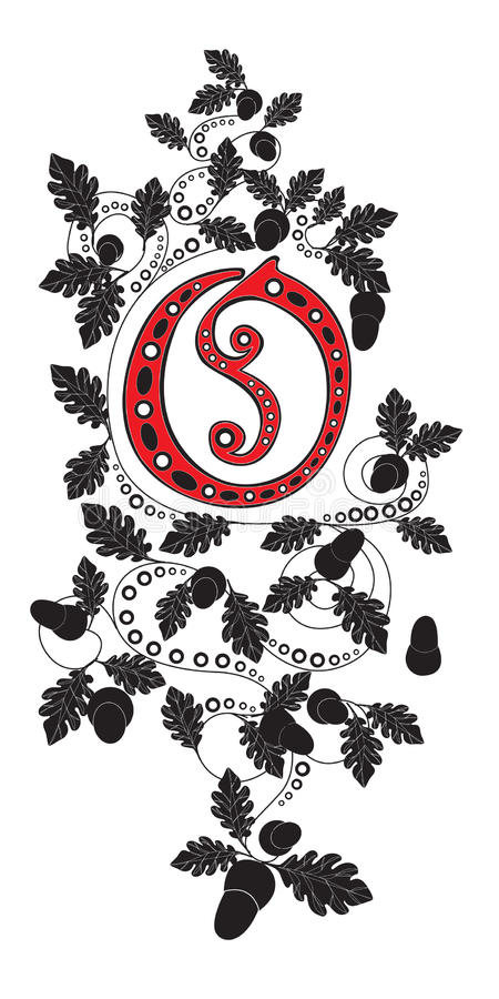 Letter O. There is a letter I with oak patter royalty free illustration