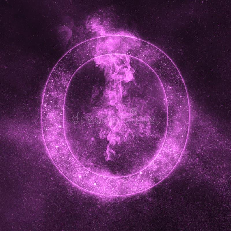 Letter O alphabet symbol. Space Letter, Night Sky Letter. Space letters royalty free illustration