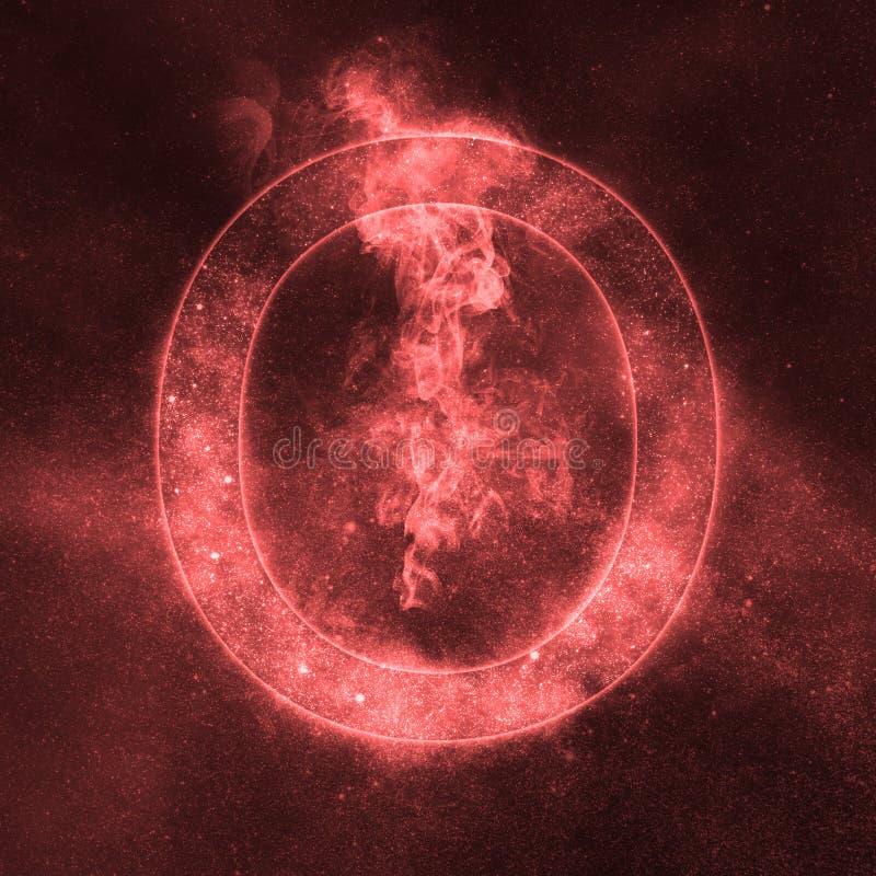 Letter O alphabet symbol. Space Letter, Night Sky Letter. Space letters stock illustration