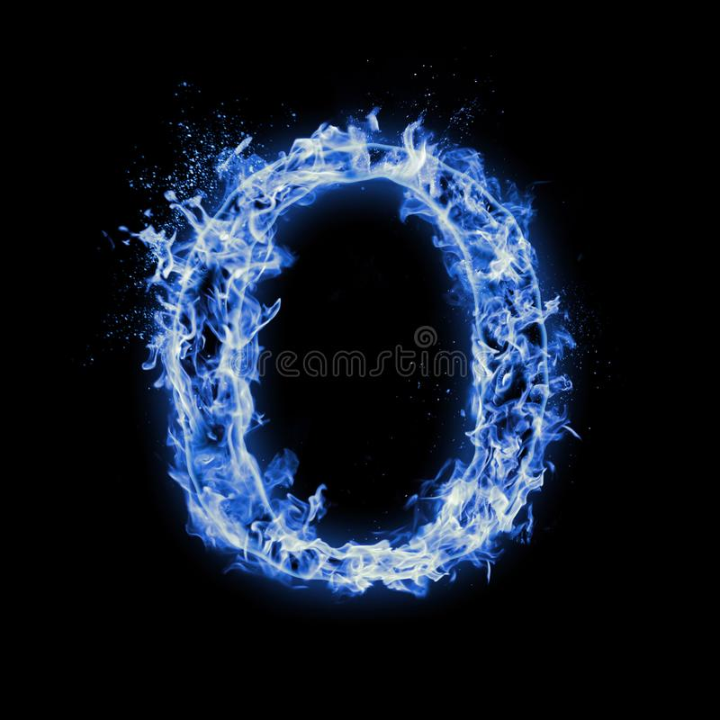 Letter O. Blue fire flames on black royalty free stock photo