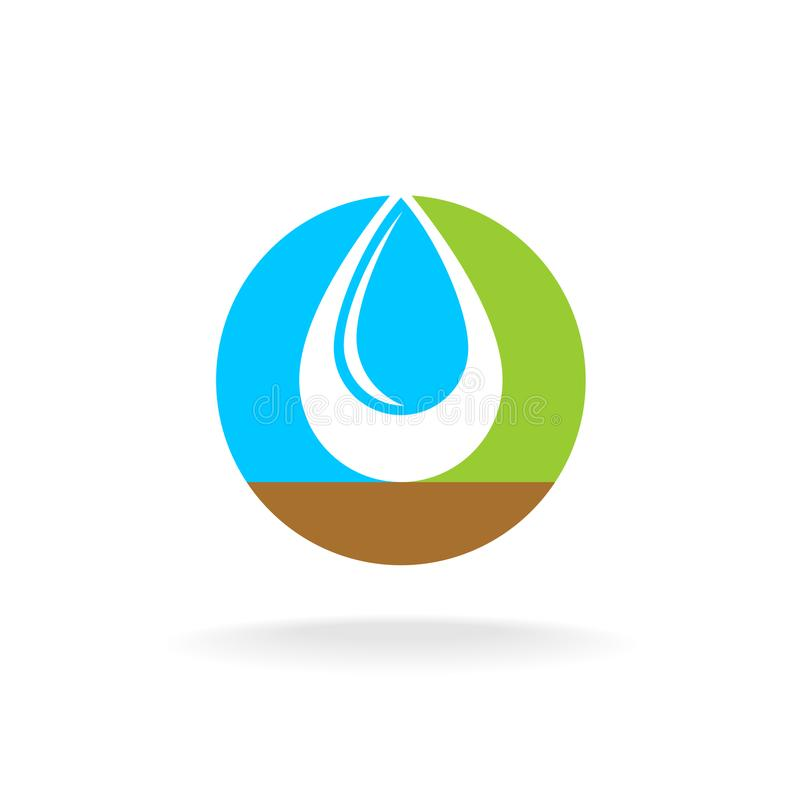 Letter O with liquid water drop logo. Sky, nature and soil colors. Overlay style royalty free illustration