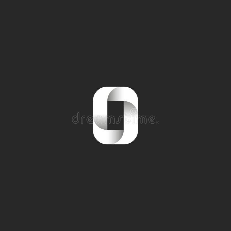 Letter O logo idea bold capital symbol, sleek rectangle geometric shape, black and white gradient typography decoration design vector illustration
