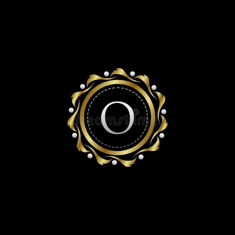 Letter O Luxury Boutique Circle Badge Template Logo. Vector, suitable with classy and vintage theme stock illustration