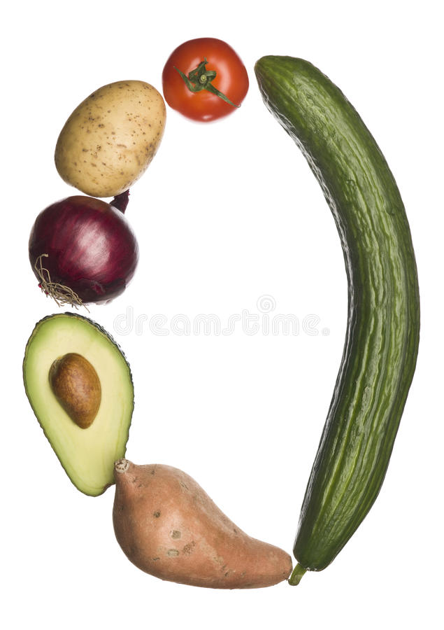 The letter 'o' made out of vegetables royalty free stock photography