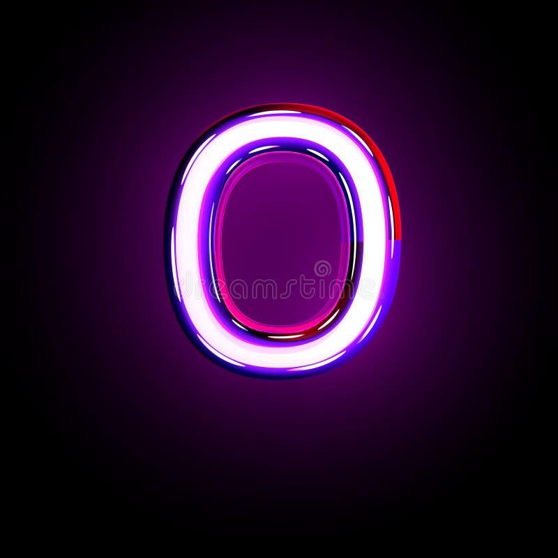 Letter O of neon purple glow font isolated on black - 3D illustration of symbols. Purple shine neon alphabet - letter O isolated on black background, 3D stock illustration