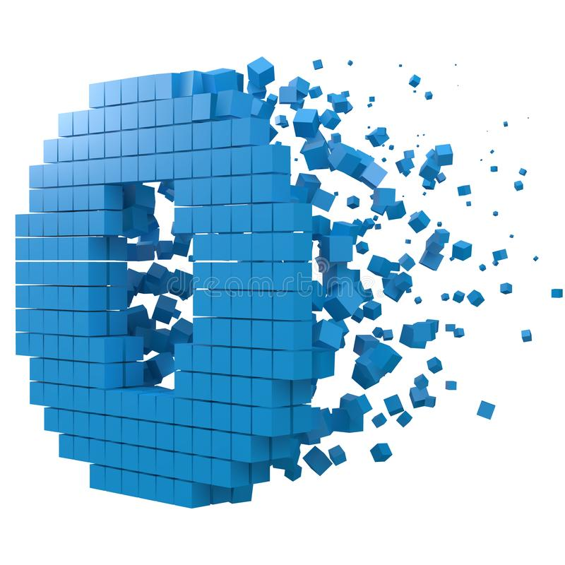 Letter O shaped data block. version with blue cubes. 3d pixel style vector illustration. Suitable for blockchain, technology, computer and abstract themes royalty free illustration