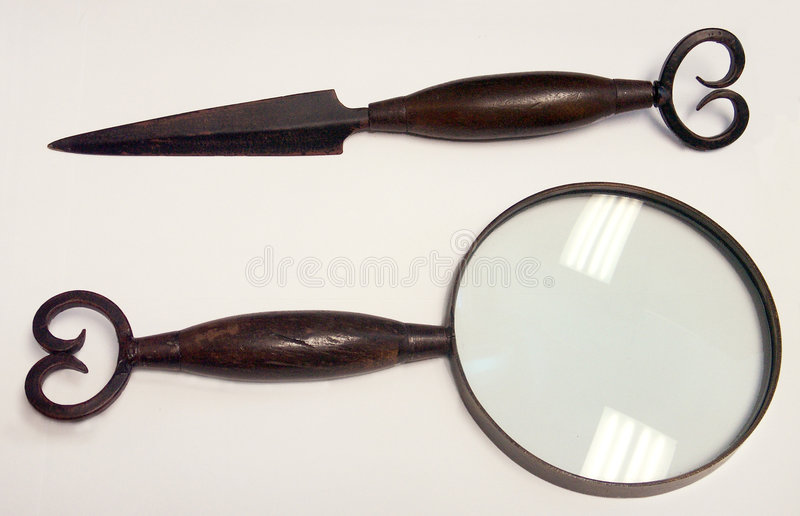 Letter Opener & Magnifying Glass Royalty Free Stock Photos