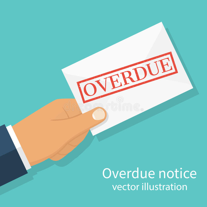 Letter Overdue Notice. Hand holding letter Overdue Notice. Past due, final notice. Junk mail. Envelope with the stamp in hand. Receive mail. Vector illustration stock illustration