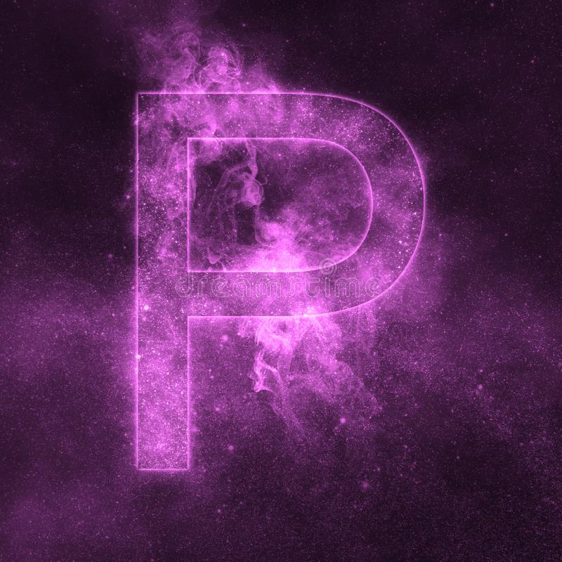 Letter P alphabet symbol. Space Letter, Night Sky Letter. Space letters vector illustration