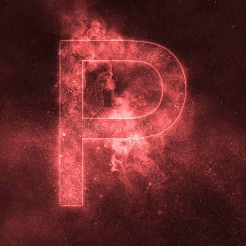 Letter P alphabet symbol. Space Letter, Night Sky Letter. Space letters stock illustration