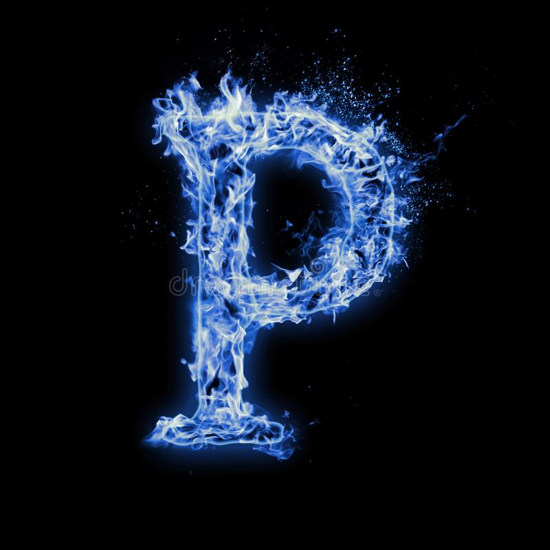 Letter P. Blue fire flames on black royalty free stock photo