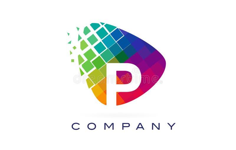 Letter P Colourful Rainbow Logo Design. Letter P Colourful Logo. Rainbow P Letter Icon with Shattered Blocks vector illustration