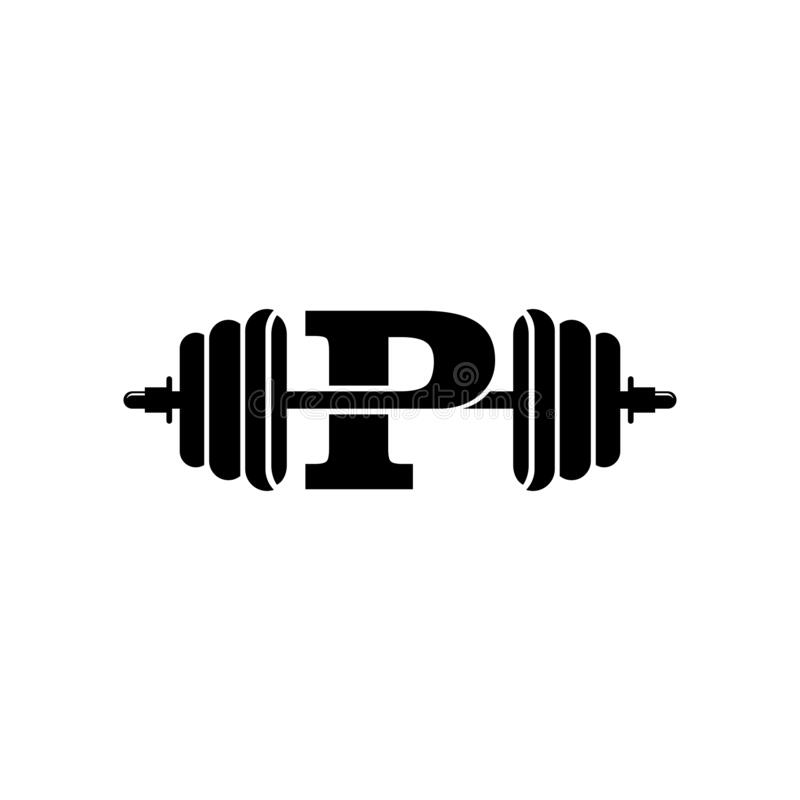 Free Letter P Fitness Gym Logo Design. Barbel Sports Vector Stock Photography - 179803492