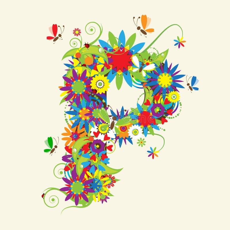 Floral Letter R Font:  Letter P Floral Design Stock Vector. Illustration Of
