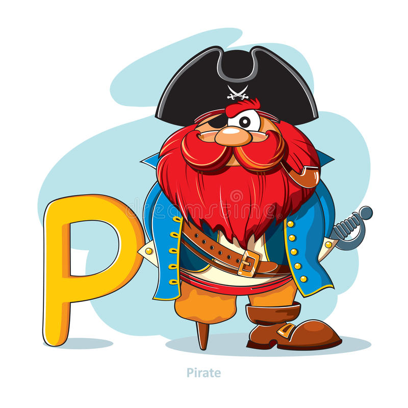 Letter P with funny Pirate vector illustration