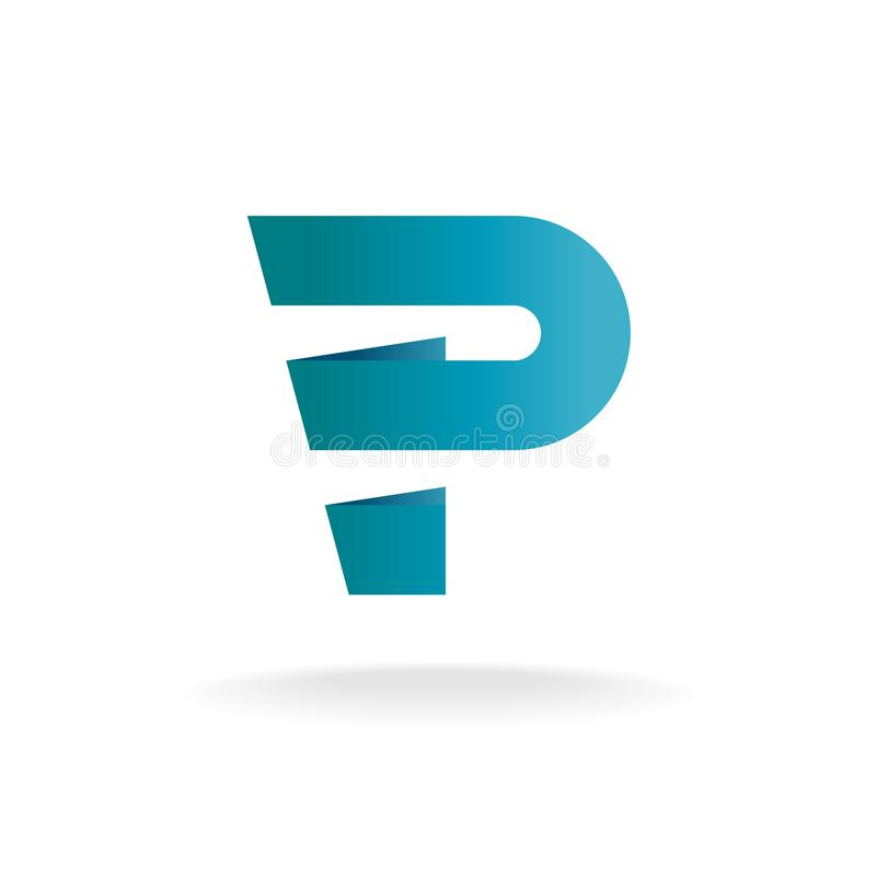 Letter P logo template. Blue wide stripes style royalty free illustration