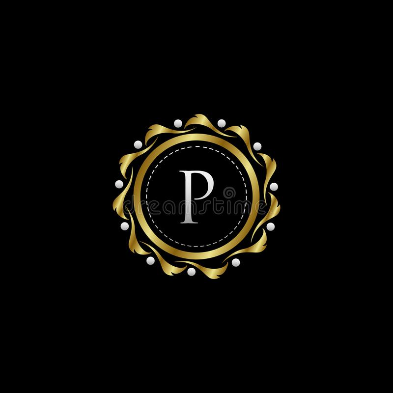 Letter P Luxury Boutique Circle Badge Template Logo. Vector, suitable with classy and vintage theme royalty free illustration