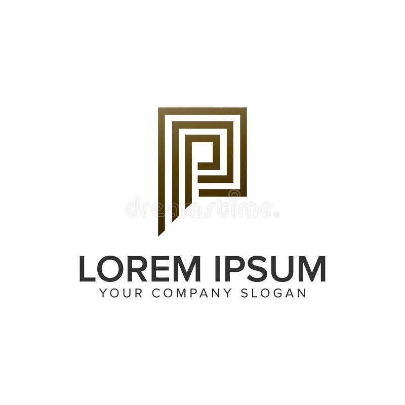 Letter P luxury line logo design concept template royalty free illustration