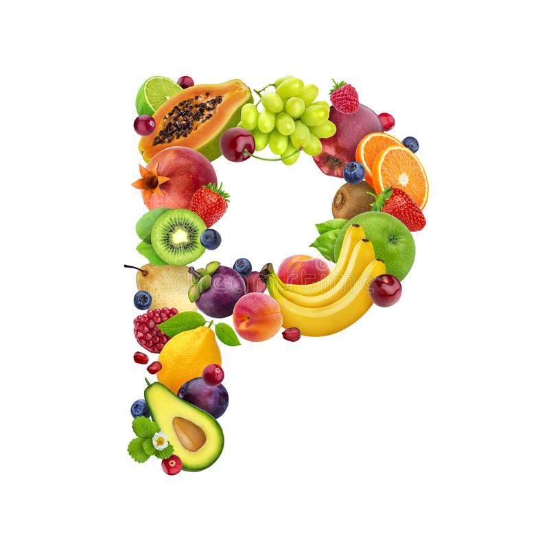 Letter P made of different fruits and berries, fruit font isolated on white background, healthy alphabet. Letter P made of different fruits and berries, fruit royalty free illustration